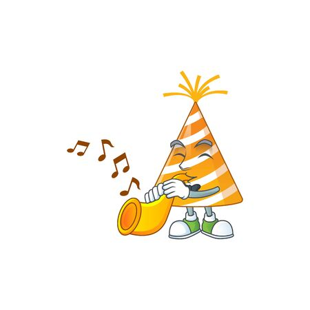 Talented musician of yellow party hat mascot design playing music with a trumpet