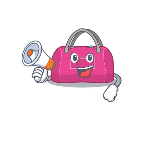 Mascot design of woman sport bag announcing new products on a megaphone Çizim