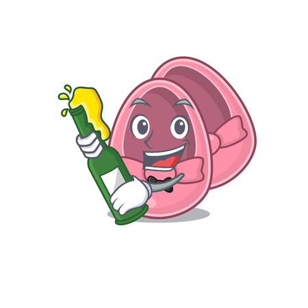 caricature design concept of baby girl shoes cheers with bottle of beer