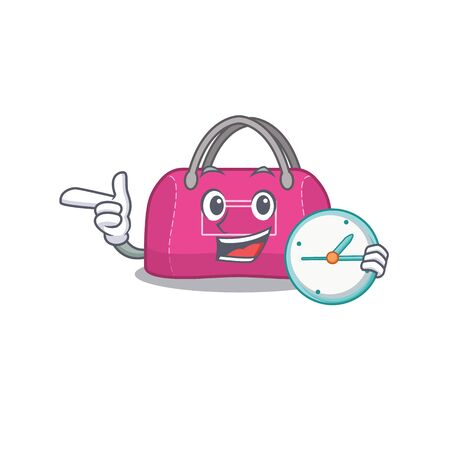 mascot design style of woman sport bag standing with holding a clock Ilustrace