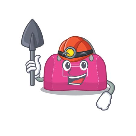 A cartoon picture of woman sport bag miner with tool and helmet