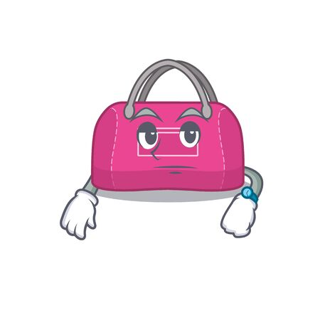 Mascot design style of woman sport bag with waiting gesture Ilustrace