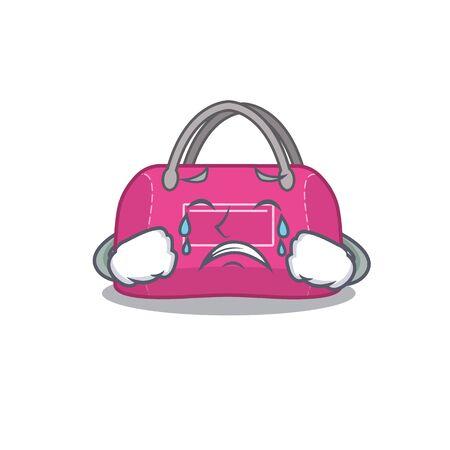 Caricature design of woman sport bag having a sad face