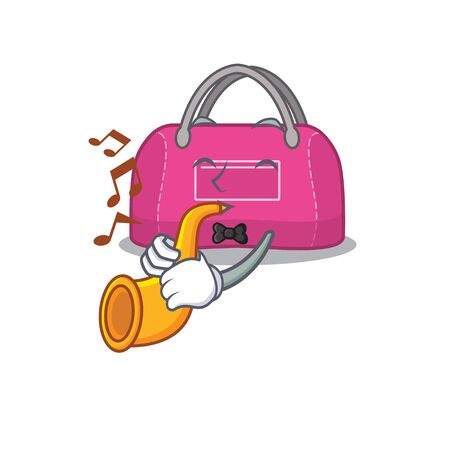 Woman sport bag musician of cartoon design playing a trumpet. Vector illustration Çizim