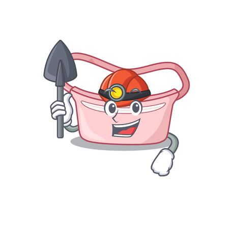A cartoon picture of women waist bag miner with tool and helmet. Vector illustration