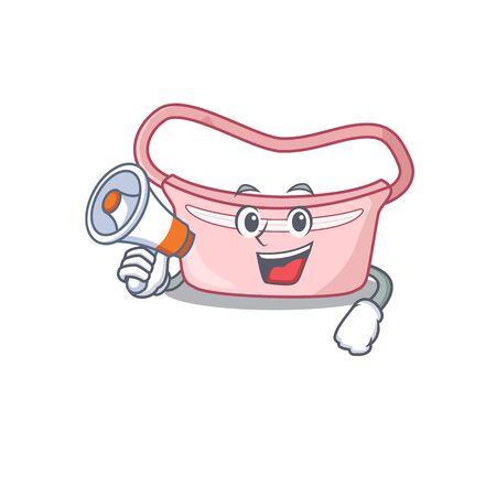 Mascot design of women waist bag announcing new products on a megaphone. Vector illustration Stok Fotoğraf - 147948282