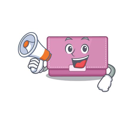 Mascot design of womens wallet announcing new products on a megaphone Stok Fotoğraf - 147949459
