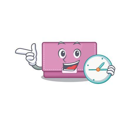 mascot design style of womens wallet standing with holding a clock Ilustrace