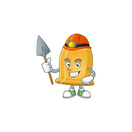 Bell as a miner cartoon character design. Vector illustration Çizim