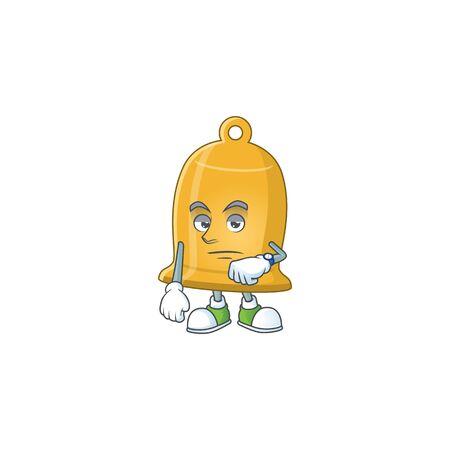 Bell showing waiting gesture cartoon design concept. Vector illustration