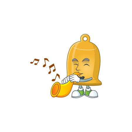 Talented musician of bell mascot design playing music with a trumpet. Vector illustration