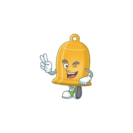 smiling bell cartoon mascot style with two fingers