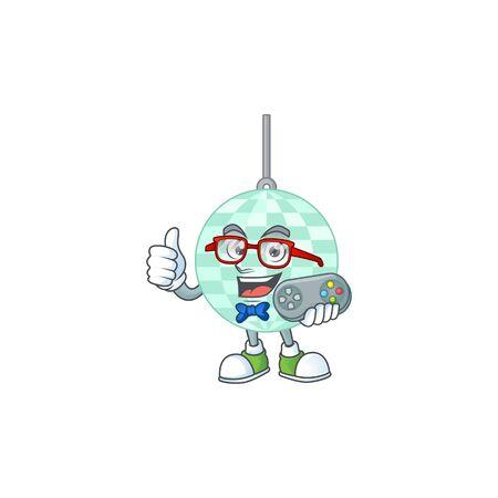 Cartoon mascot design of disco ball play a game with controller Vecteurs