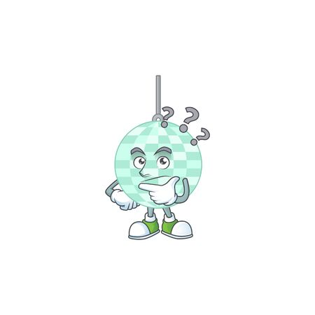 mascot design concept of disco ball with confuse gesture