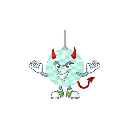 A cartoon image of disco ball as a devil character