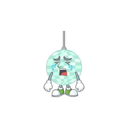 A crying disco ball cartoon character drawing concept