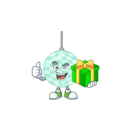 Happy smiley disco ball cartoon mascot design with a gift box
