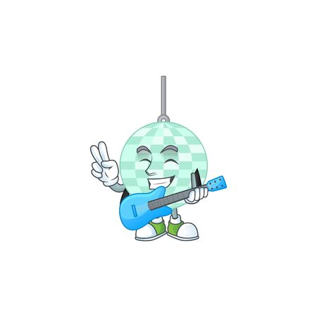 Disco ball cartoon character style plays music with a guitar