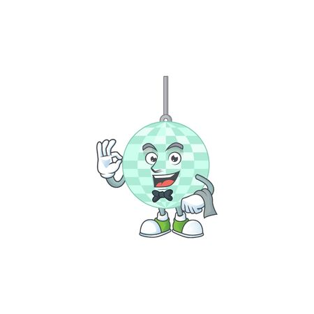 A cartoon image of disco ball as a waiter character ready to serve Vecteurs