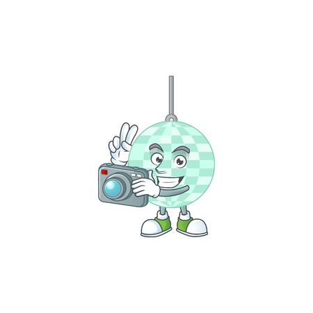 Disco ball photographer mascot design taking a picture with a camera