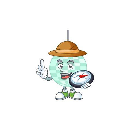 Experience explorer of disco ball cartoon character style using compass Vecteurs