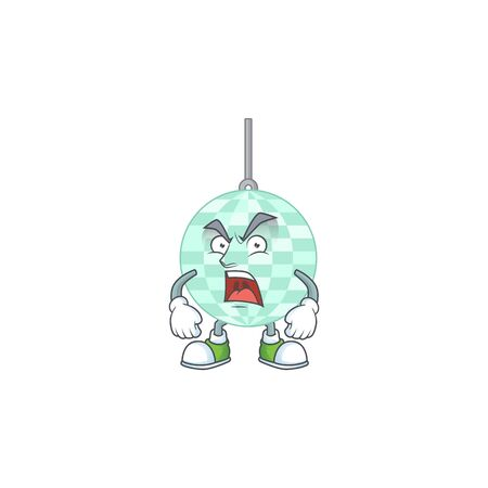 Disco ball cartoon drawing style with angry face