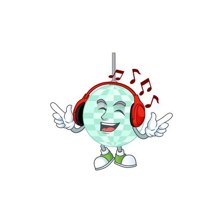 Cartoon drawing design of disco ball listening to the music with headset