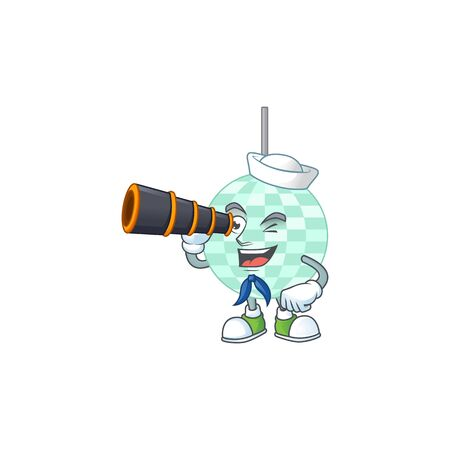 cartoon picture of disco ball in Sailor character using a binocular