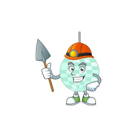 Disco ball as a miner cartoon character design