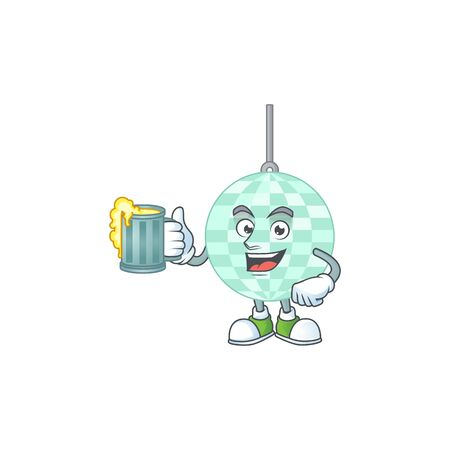 A cheerful disco ball cartoon mascot style toast with a glass of beer Vecteurs