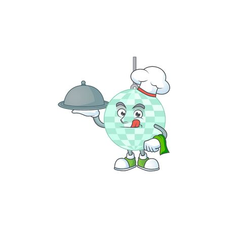 A disco ball chef cartoon mascot design with hat and tray