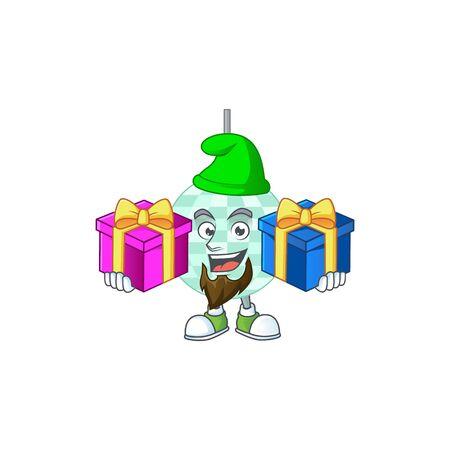 A joyful disco ball mascot design style with Christmas gifts