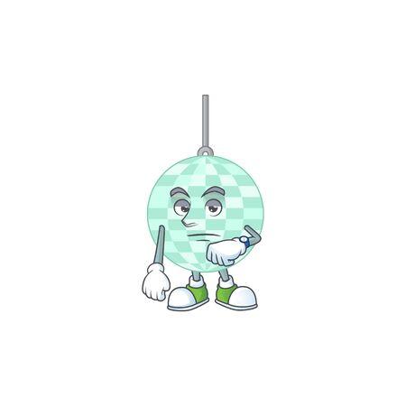 Disco ball showing waiting gesture cartoon design concept Ilustrace