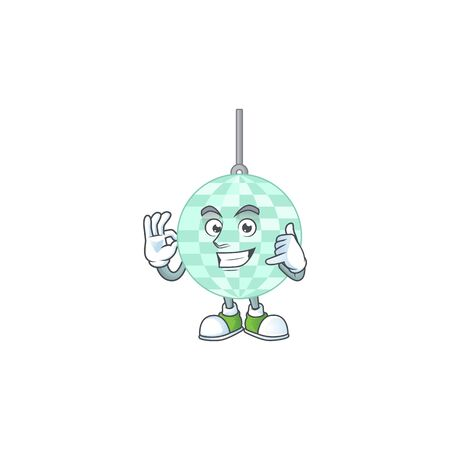 cartoon picture of disco ball make a call gesture