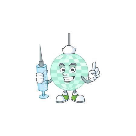 A humble Nurse disco ball Cartoon character holding syringe