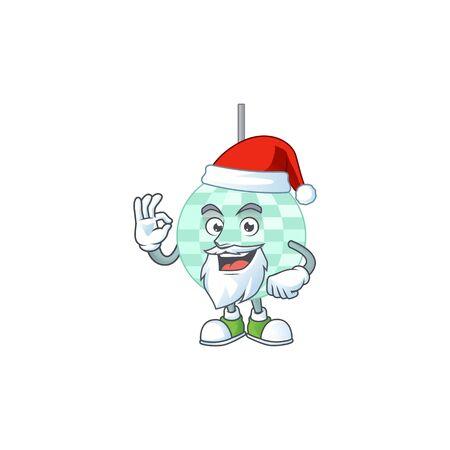 Disco ball Santa cartoon design concept with ok finger