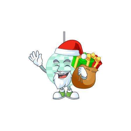 Santa disco ball Cartoon drawing design with sacks of gifts Vecteurs