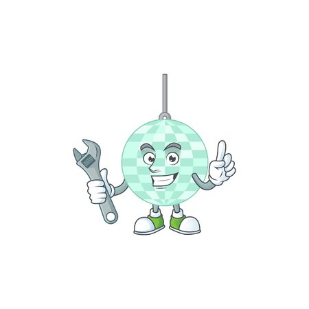 A smart mechanic disco ball cartoon mascot design fix a broken machine. Vector illustration Illustration