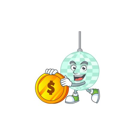 cartoon picture of disco ball rich character with a big gold coin. Vector illustration Vecteurs