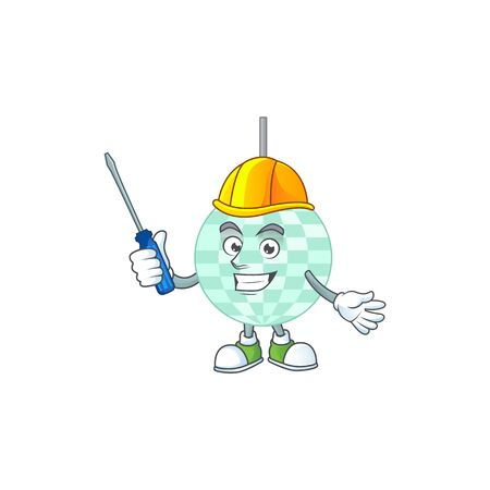 A cartoon image of disco ball in a automotive mechanic character. Vector illustration Vecteurs