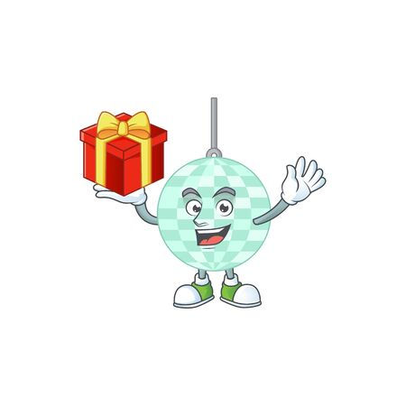 Disco ball cartoon mascot concept design with a red box of gift