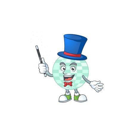 Talented disco ball Magician cartoon mascot design style