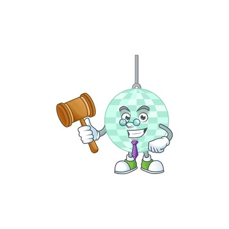 A wise Judge disco ball cartoon mascot design wearing glasses Illustration