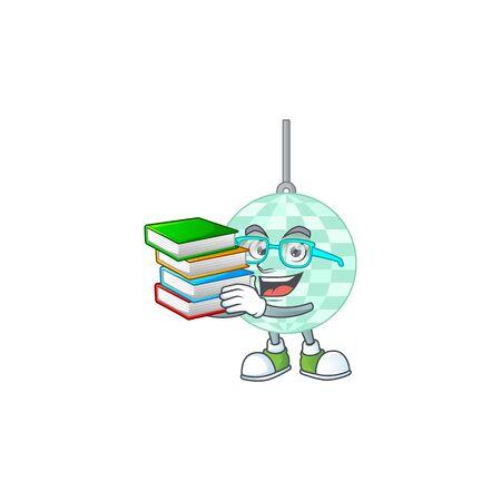 A mascot design of disco ball student having books Vecteurs