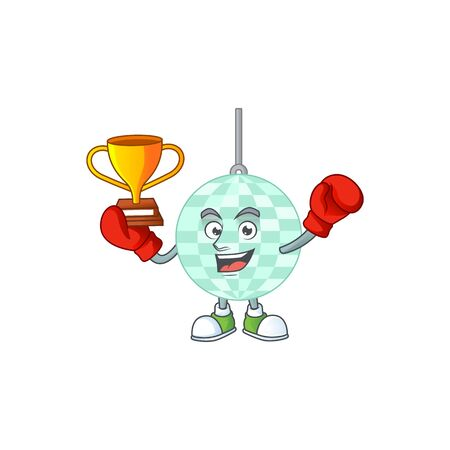 Proudly face of boxing winner disco ball cartoon character design