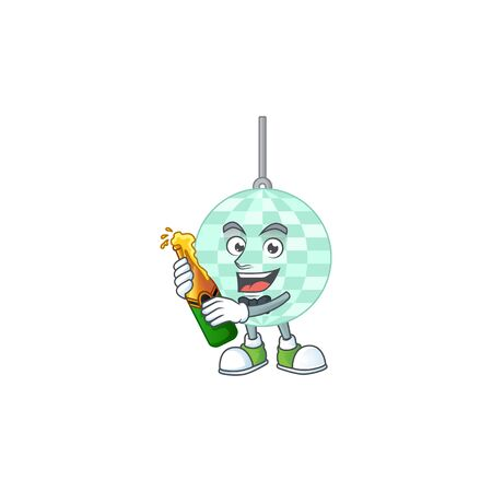 Happy face of disco ball cartoon design toast with a bottle of beer Vecteurs