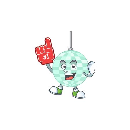 Disco ball Cartoon character design style with a red foam finger