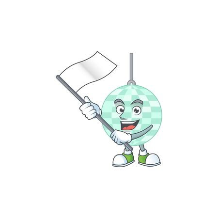 Cute caricature character of disco ball with a white flag Vecteurs