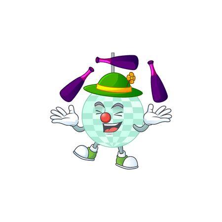 Disco ball mascot cartoon design playing Juggling on circus