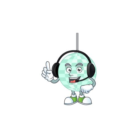Disco ball cartoon character style speaking with friends on headphone Vecteurs